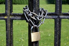 Lock and chain of a gate Royalty Free Stock Photo