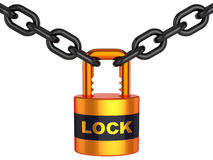 Lock and chain (Hi-Res). Shiny orange padlock with word Lock and black chain. 3D render. Isolated on white Royalty Free Stock Photography