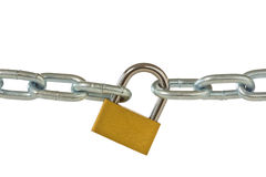 Lock and chain isolated on white Stock Photography