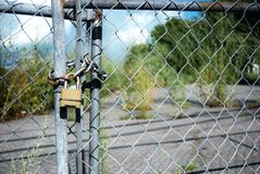 Lock on chain link fence in front of parking lot with large weeds. Sunny, blue sky, fluffy sky, brass lock Royalty Free Stock Photos
