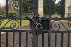 A Lock and Chain on Metal Fence Royalty Free Stock Photography