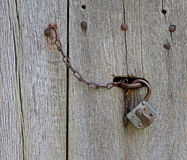 Lock and chain on old wooden door Stock Images