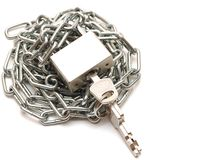 Lock and chain on white background Stock Photo