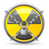 Lock with chains on a sign radiation. Illustration isolated on white background Royalty Free Stock Photo