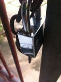 Lock. Chains steel fence Close the door stock photos