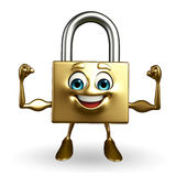 Lock Character with bodybuilding pose Royalty Free Stock Images