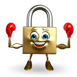 Lock Character with Boxing Gloves Royalty Free Stock Photos