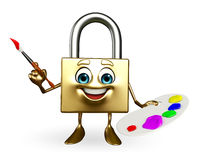 Lock Character with Color plate Stock Image