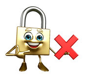 Lock Character with cross sign Stock Image