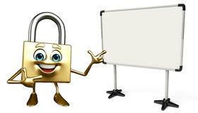 Lock Character with display board Royalty Free Stock Photography