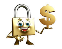 Lock Character with dollar symbol/sign Royalty Free Stock Photos