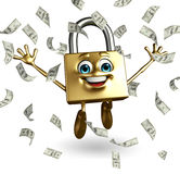 Lock Character with dollars Stock Image