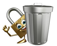 Lock Character with dustbin Stock Images