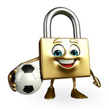 Lock Character with football Stock Photo