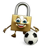 Lock Character with football Royalty Free Stock Photos