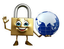 Lock Character with globe Stock Images