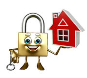 Lock Character with home Royalty Free Stock Photo
