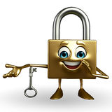 Lock Character with key Stock Photos