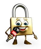 Lock Character with mike Royalty Free Stock Image