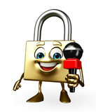 Lock Character with mike Stock Photos