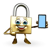 Lock Character with mobile Stock Image