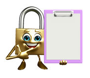Lock Character with notepad Stock Photos