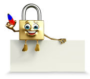 Lock Character with pen Royalty Free Stock Photos