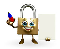 Lock Character with pen Royalty Free Stock Photo