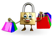 Lock Character with shopping bag Royalty Free Stock Photo