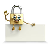 Lock Character with sign Stock Image