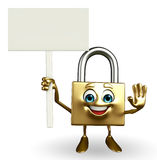 Lock Character with sign Stock Photo