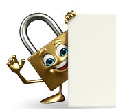 Lock Character with sign Royalty Free Stock Image