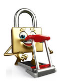 Lock Character with walking machine Stock Image