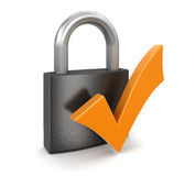 Lock and Check Mark (clipping path included) Royalty Free Stock Photos