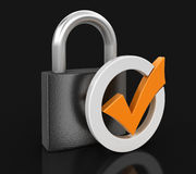 Lock and Check Mark (clipping path included) Stock Photography