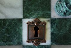 Lock on chess board stock photo