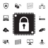 Lock on a chip icon. Detailed set of cyber security icons. Premium quality graphic design sign. One of the collection icons for we. Bsites, web design, mobile stock illustration