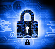 Lock with circuit board Royalty Free Stock Photography