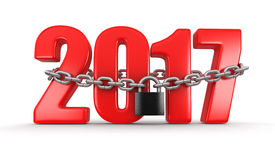 2017 and lock. (clipping path included Stock Image