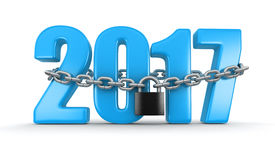 2017 and lock. (clipping path included Royalty Free Stock Photo