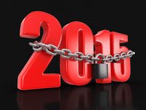 2015 and lock (clipping path included). 2015 and lock. Image with clipping path included Stock Images