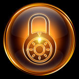 Lock closed icon gold. Stock Images