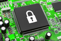 Lock on computer chip Royalty Free Stock Photos