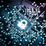 Lock on computer chip. Technology security concept Stock Images