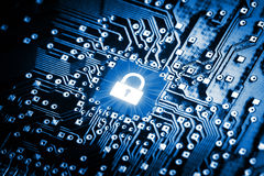 Lock on computer chip. Technology security concept Stock Image