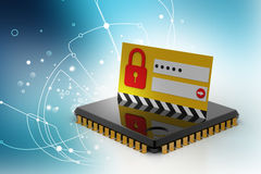 Lock on computer chip - technology security concept Royalty Free Stock Photo