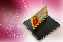 Lock on computer chip - technology security concept Stock Image