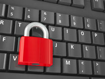 Lock on the computer keyboard isometry Royalty Free Stock Images