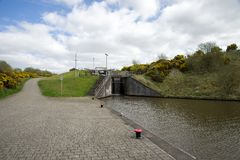A lock connecting Union canal with a top of Falkirk Wheel canal in central Scotland. United Kingdom stock photos