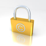 Lock with copyright symbol. With white bg Stock Images
